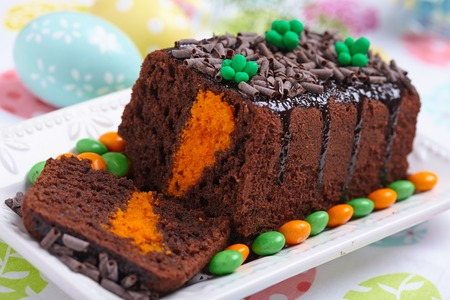 carrot cake: Chocolate Easter cake with decorative carrot inside Stock Photo