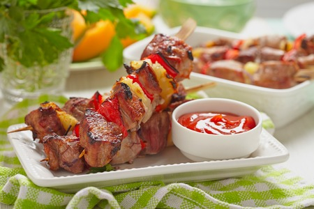 kebab: Grilled kebab with red pepper and pineapple