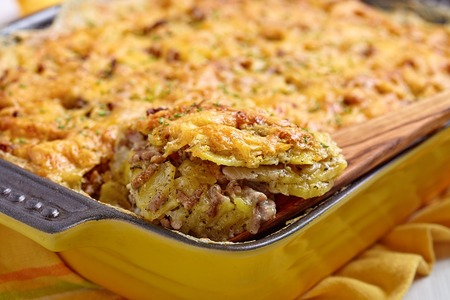 baked meat: Baked Potato Gratin with Beef Ground Meat Stock Photo