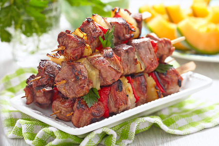 Grilled kebab with red pepper and pineapple Stock Photo