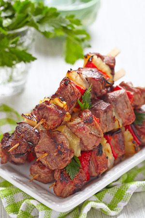 the shish kebab: Grilled kebab with red pepper and pineapple