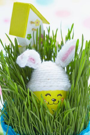 Easter decoration with cute egg in bunny hat on green grass photo
