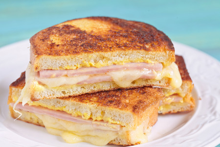 melted cheese: Monte Cristo sandwich with ham and cheese