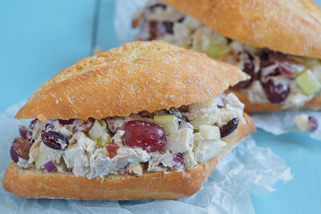 Chicken Salad Sandwich with Apple, Grape, Celery, Almond and Dried Cranberry Greek Yogurt Stock Photo