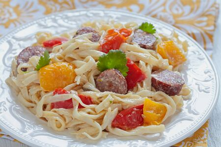 skillet: Sausage Pepper Fettuccini Skillet on a table