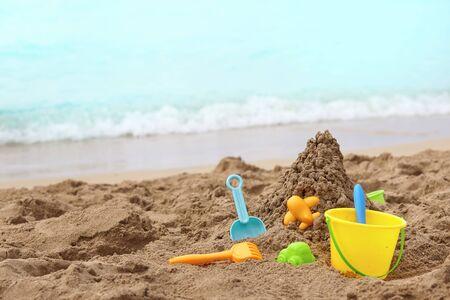 beach toys: Childrens  toys on a sand sea beach