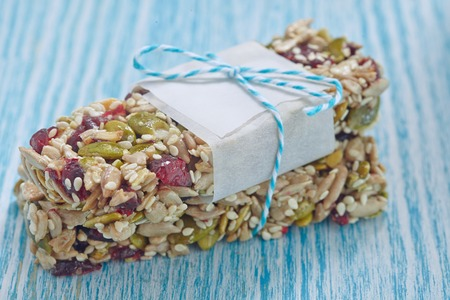 granola: Energy bars - snack for healthy still life