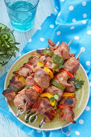 kabob: Grilled pork kebabs with pepper and zucchini Stock Photo