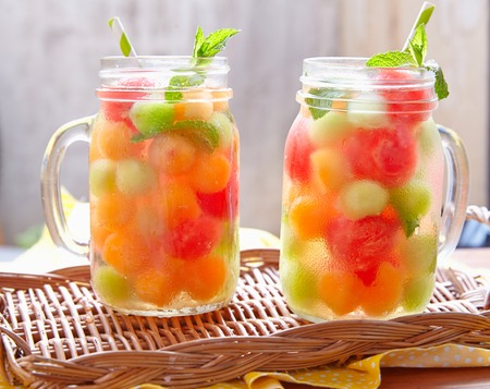Melon cocktail with watermelon, cantaloupe and honeydew balls 스톡 콘텐츠