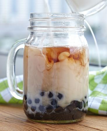 pearl tea: Bubble boba tea with milk and tapioca pearls