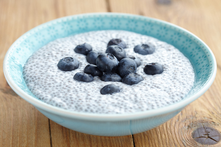 Chia pudding with coconut milk and blueberry Stock Photo