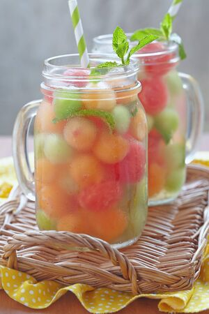 HONEYDEW: Melon cocktail with watermelon, cantaloupe and honeydew balls Stock Photo