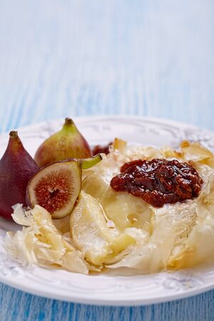 filo: Baked Camembert wrapped filo with Figs and jam