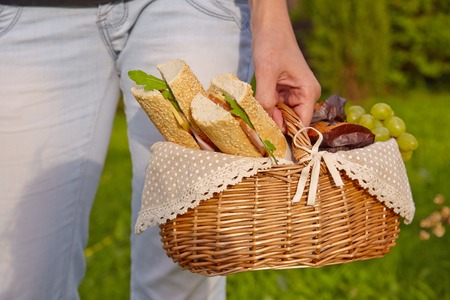 picnic: Picnic basket with sandwiches, muffins and fruits