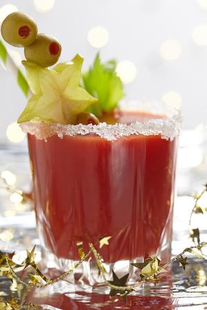 bloody mary cocktail: Bloody Mary Cocktail with olives  for Christmas