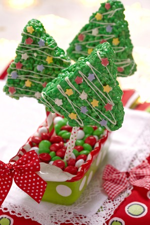 edible: Rice crispy bars decorated for a Christmas Stock Photo