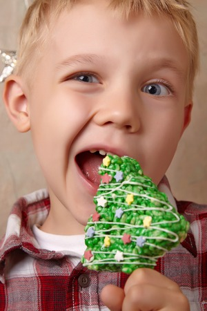 healthy snack: Rice crispy bars decorated for a Christmas Stock Photo