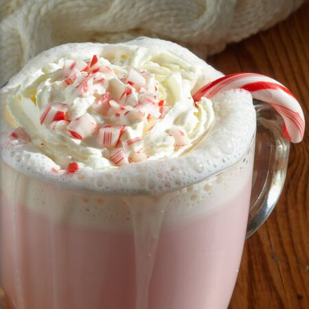 peppermint cream: Peppermint hot white chocolate with candies and whipped cream Stock Photo