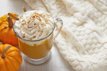Pumpin latte with whipped cream and spices