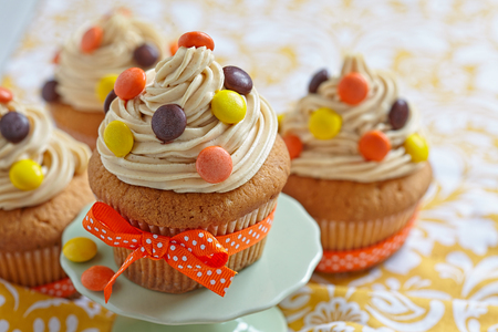 Peanut Butter Cupcakes Decorated for Autumn Fall Holidays Stock Photo