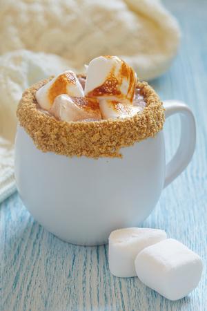 graham: Smores hot chocolate with roasted marshmallo and graham cracker