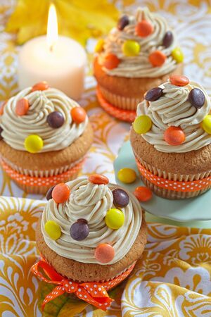 reese's: Peanut Butter Cupcakes Decorated for Autumn Fall Holidays Stock Photo