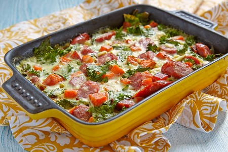 creamed: Autumn casserole with sweet potato, kale and sausage