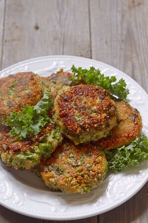 cheddar: Quinoa fritters with kale and cheddar cheese