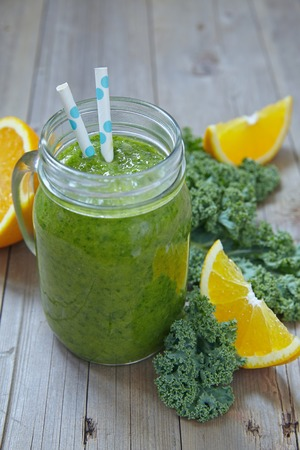 smoothie: Fresh green smoothie with kale and orange