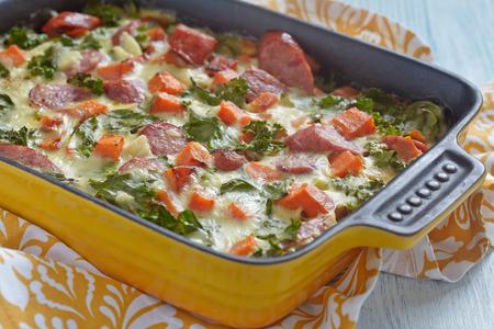sweet foods: Autumn casserole with sweet potato, kale and sausage