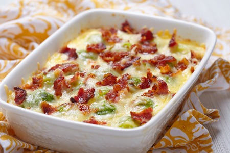 brussel: Baked brussel sprout casserole with a bacon Stock Photo