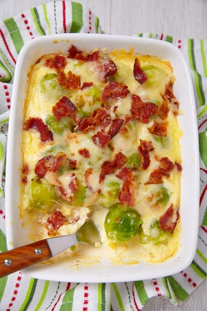 low carb diet: Baked brussel sprout casserole with a bacon Stock Photo