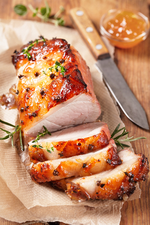 baked meat: Baked meat with orange fruit jam and allspice Stock Photo