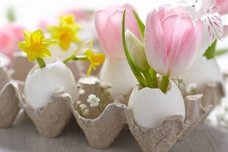 Easter decoration with flowers in egg shells