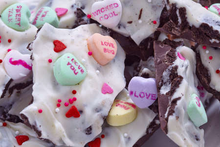 barks: Valentine   Bark with conversation heart candy