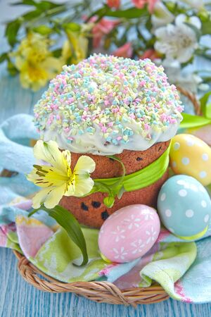 glace: Easter cake with glace icing and colored easter eggs Stock Photo