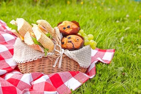Picknickkorb mit Sandwiches, Muffins und Obst Standard-Bild - 53304907