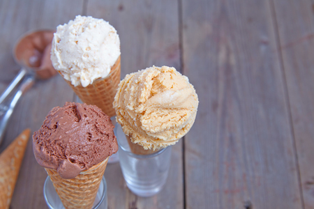 salted: Chocolate, vanilla and salted caramel Ice cream in a cone