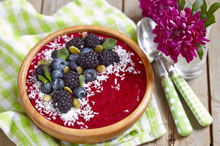 shreded: Acai bowl with blackberry, blueberry, coconut and pumpkin seeds