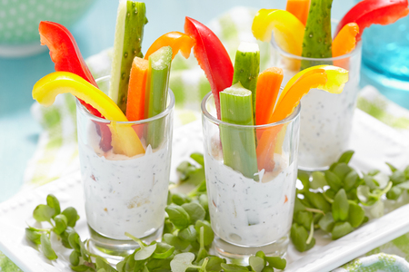 dill: Vegetables Snacks in Yogurt with dill herb