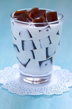 coffee jelly: Japanese Coffee Jelly Dessert with sweet cream Stock Photo