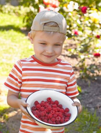 boy beautiful: Funny kid boy with bowl of a ripe raspberry outdoor