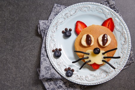aliments droles: Funny cat pancake with berries for kids breakfast