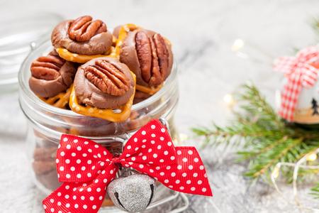 snapping turtle: Chocolate Caramel Pecan Pretzel Bites in a jar