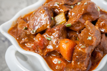 Beef stew with beer, rosemary and vegetables Stockfoto