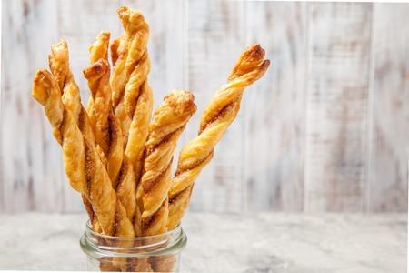 twists: Cinnamon sugar puff pastry sticks twists for Christmas