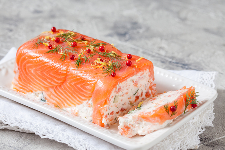 Delisius salmon terrine with cream cheese and cucumber 스톡 콘텐츠 - 113823937