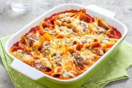 Italian style stuffed pasta shells with meat