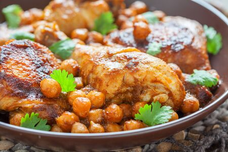 garbanzos: Curry Chicken With Chickpeas on a table