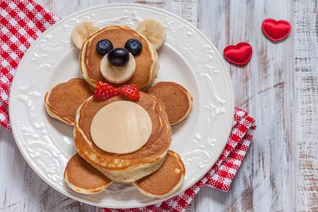 teddybear: Bear pancakes for kids breakfast